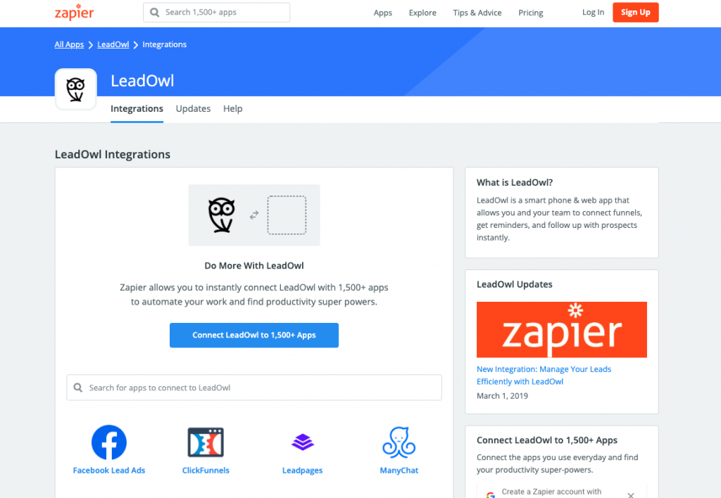Use the thousands of applications within Zapier to connect to LeadOwl.